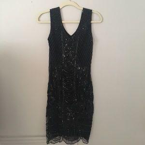 Black Gatsby Beautiful Beaded Midi Dress